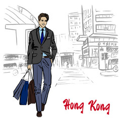 man on hong kong vector image