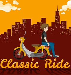 Man riding on yellow scooter vector image