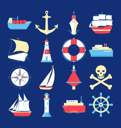 Marine collection of ship icons in flat style vector