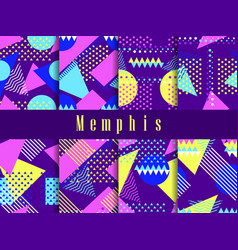 memphis seamless pattern set geometric elements vector image