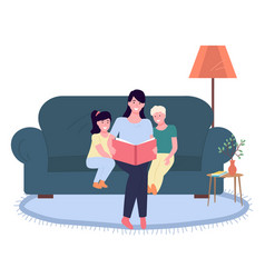 mother reading a story to children happy family vector image