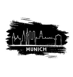 munich germany city skyline silhouette hand drawn vector image