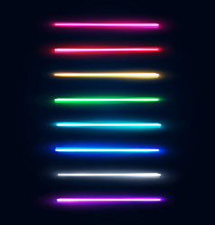 neon light tubes set halogen or led light lamps vector image