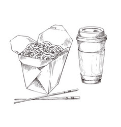 Noodle box and drink cup to takeaway icon set vector