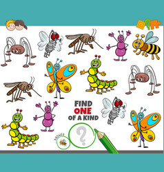 One a kind game for children with happy insects vector