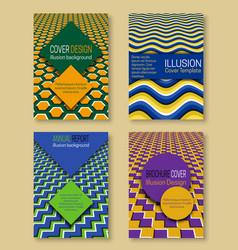 Optical illusion covers templates hypnotic design vector