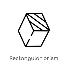 Outline rectangular prism icon isolated black vector