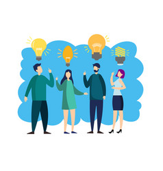people with idea lamp vector image