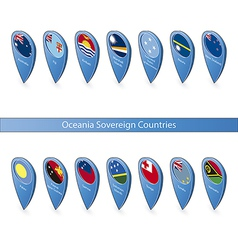 Pin flags of Oceania Sovereign Countries vector image