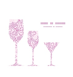 Pink flowers lineart three wine glasses vector