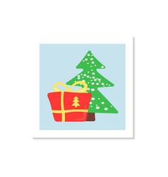 Present under xmas tree social media post mockup vector