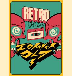retro party typographic poster design vector image