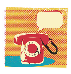 Retro telephone with bubble for text vector