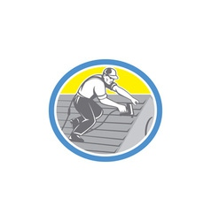 Roofer Roofing Worker Circle Retro vector