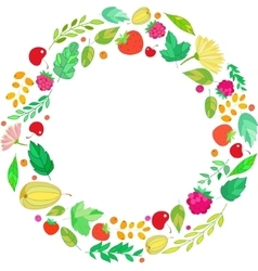 round frame from berries leaves vector image
