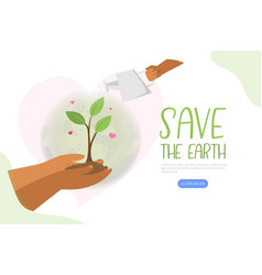 save earth hand holding green planet vector image