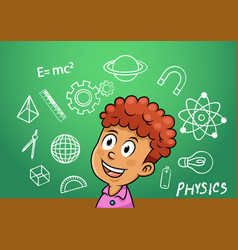 school boy write physics symbol object vector image