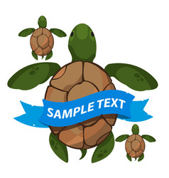 sea turtles with ribbon banner clipart on the vector image
