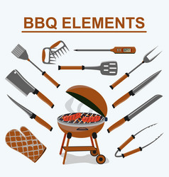 Set different tools for barbecue party meat vector