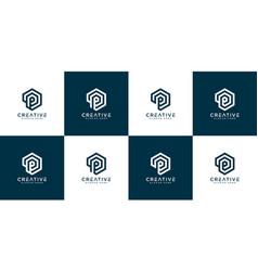 set initial letter p logo design vector image