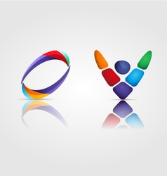 Set of 2 two coloured symbols vector