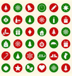 Set of christmas icons on color background vector