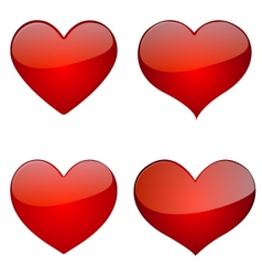 Set Of Glossy Hearts Icon Design vector image