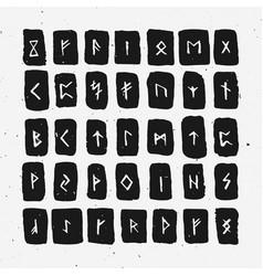 Set of old norse scandinavian runes carved in wood vector