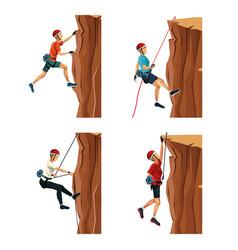Set scene men climbing on a rock mountain with vector