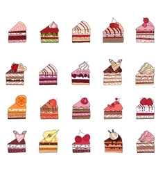 Set with different fruit cake slices Different vector image