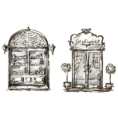 Shop-window and entrance door drawing retro style vector