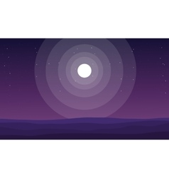 Silhuoette of hills at night vector