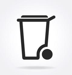 Simple wheelie bin outline symbol vector