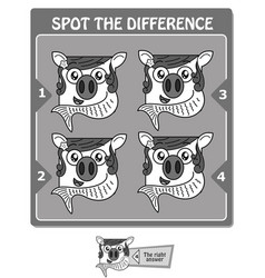 Spot the difference black fish vector