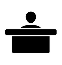 staff icon male person avatar symbol with table vector image