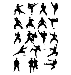 Taekwondo Karate and Wushoo Silhouettes vector