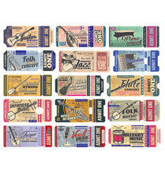 ticket templates music concert with instruments vector image