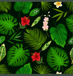 tropical flower and palm leaf seamless pattern vector image