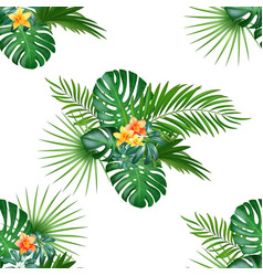 Tropical seamless pattern with palm leaves and vector