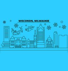 United states milwaukee city winter holidays vector