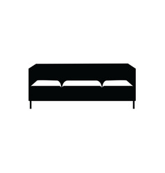 upholstered sofa or couch three seats black icon vector image