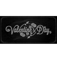 Valentines day lettering on chalkboard background vector