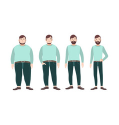 Visualization weight loss stages male vector