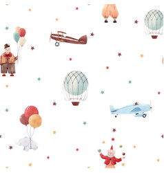 watercolor circus pattern vector image