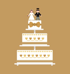 Wedding cake gold ribbon vector