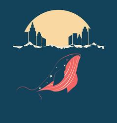 Whale near city vector