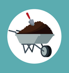 Wheelbarrow with eart shovel garden vector