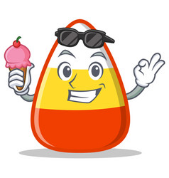 with ice cream candy corn character cartoon vector image