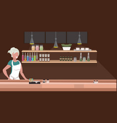 Woman cafe waitress barista in apron standing vector