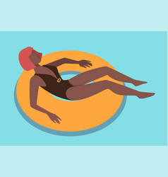 woman relaxing in water laying in inflatable vector image
